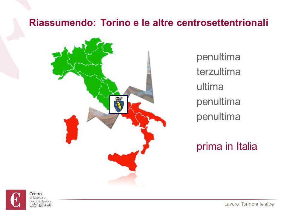 Riassumendo: Torino e le altre centrosettentrionali occupazione Maschilepenultima occupazione Femminileterzultima occupazione Giovanileultima Adulti in formazionepenultima Giovani non Neetpenultima Cassa integrazioneprima in Italia Lavoro: Torino e le altre