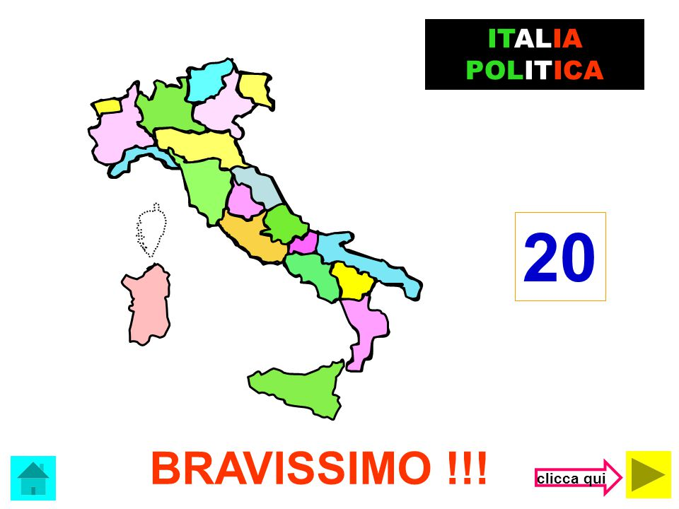 Il capoluogo della Emilia Romagna è …. Bologna BRAVISSIMO! ITALIA POLITICA clicca qui
