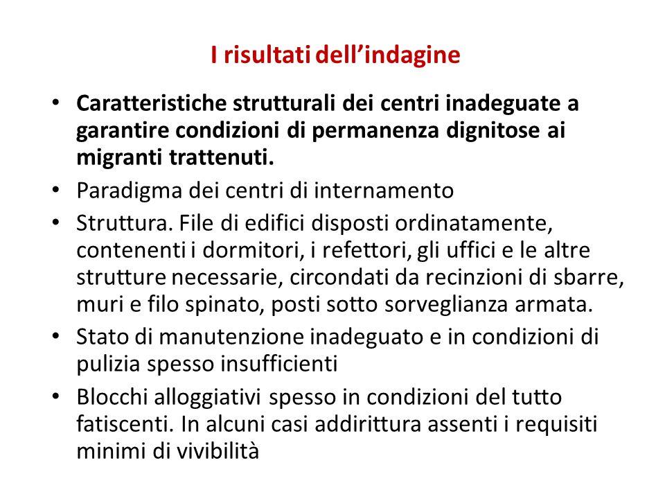 I risultati dell'indagine Caratteristiche strutturali dei centri inadeguate a garantire condizioni di permanenza dignitose ai migranti trattenuti. Par