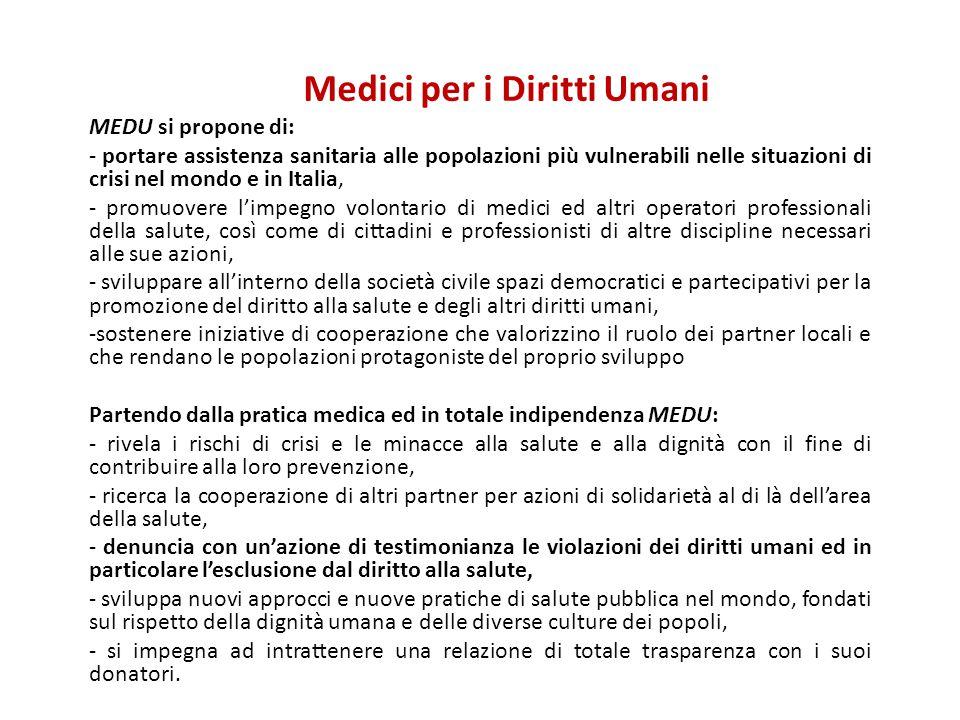 Medici per i Diritti Umani MEDU si propone di: - portare assistenza sanitaria alle popolazioni più vulnerabili nelle situazioni di crisi nel mondo e i