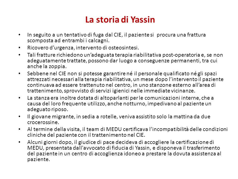La storia di Yassin In seguito a un tentativo di fuga dal CIE, il paziente si procura una frattura scomposta ad entrambi i calcagni. Ricovero d'urgenz