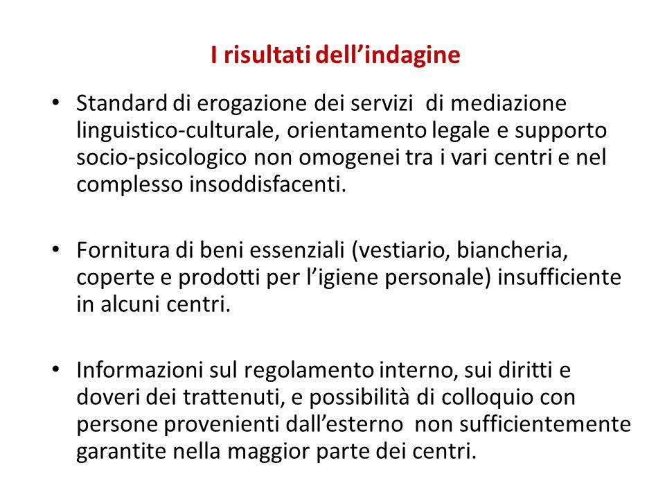 I risultati dell'indagine Standard di erogazione dei servizi di mediazione linguistico-culturale, orientamento legale e supporto socio-psicologico non