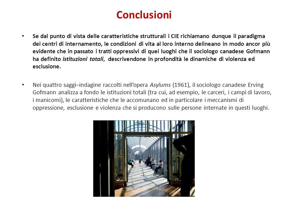 Conclusioni Se dal punto di vista delle caratteristiche strutturali i CIE richiamano dunque il paradigma dei centri di internamento, le condizioni di