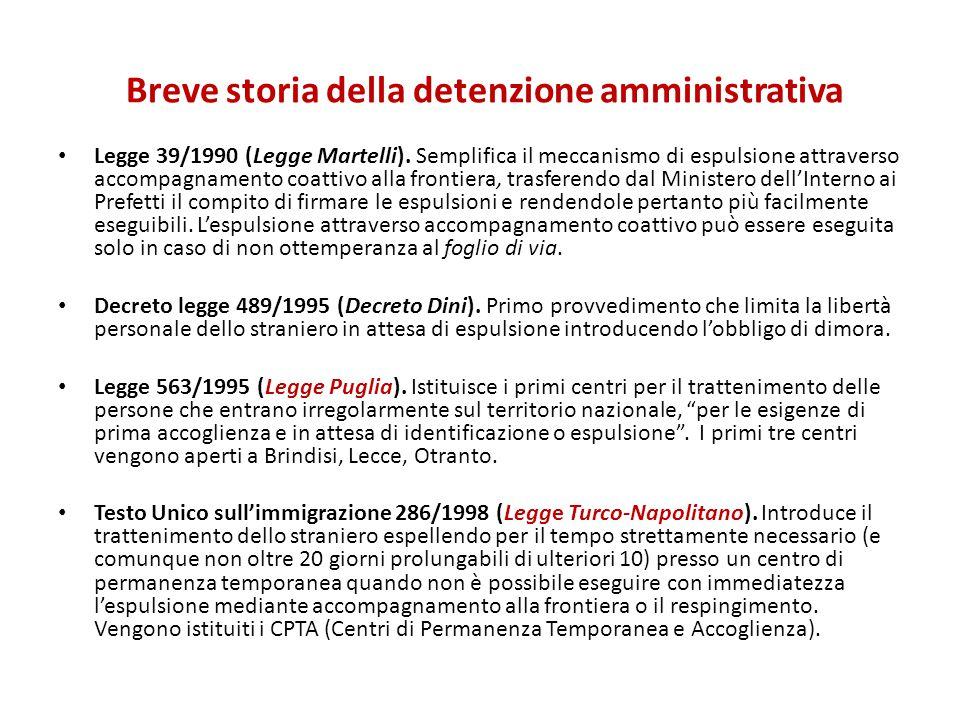 Legge 39/1990 (Legge Martelli). Semplifica il meccanismo di espulsione attraverso accompagnamento coattivo alla frontiera, trasferendo dal Ministero d