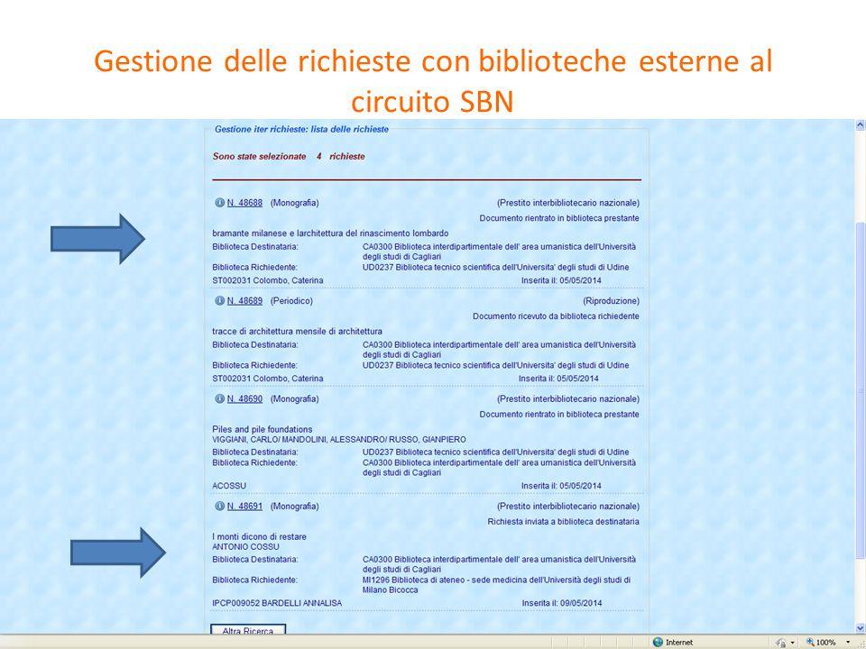 Invio della richiesta a una biblioteca esterna al circuito ILL-SBN