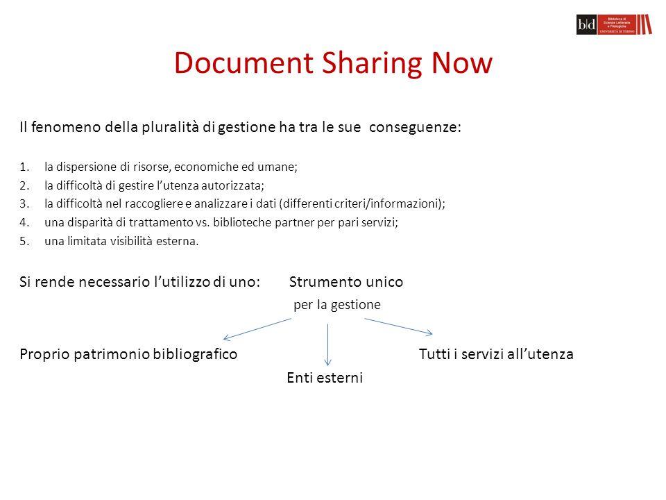 Document Sharing Now L'attuale organizzazione del Document Sharing presso alcuni enti è frammentata in numerose attività ed è necessario far ricorso a