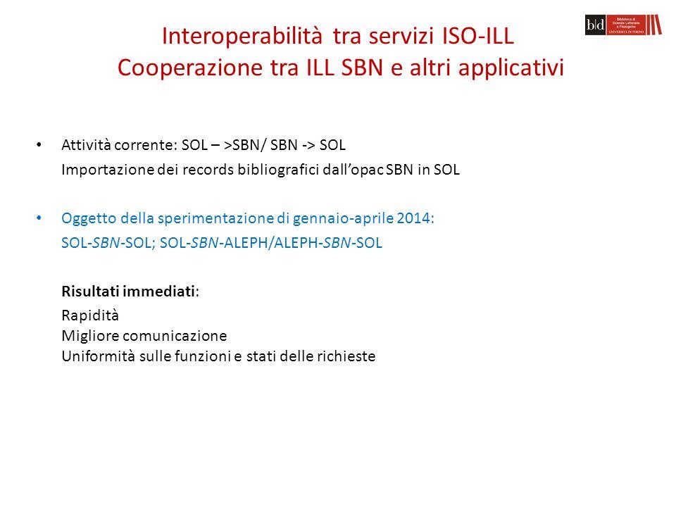 Document sharing new ILL SOL utenti ILL SBN Nilde ILL ALEPH utenti cataloghi