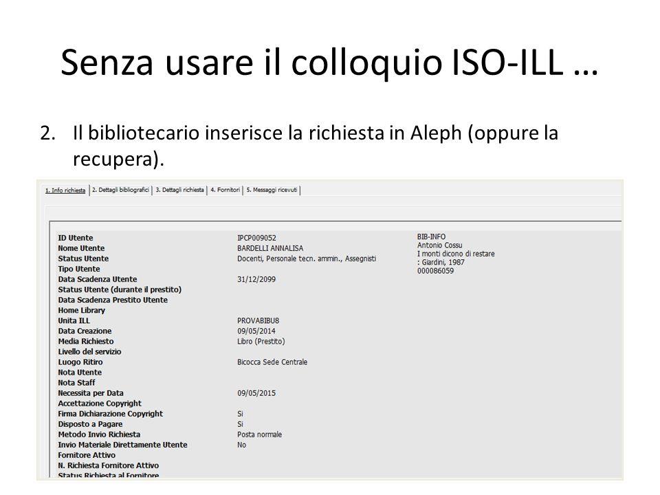 Senza usare il colloquio ISO-ILL… 1.L'utente invia la sua richiesta alla biblioteca (oppure la inserisce nell'opac web se il servizio è stato attivato