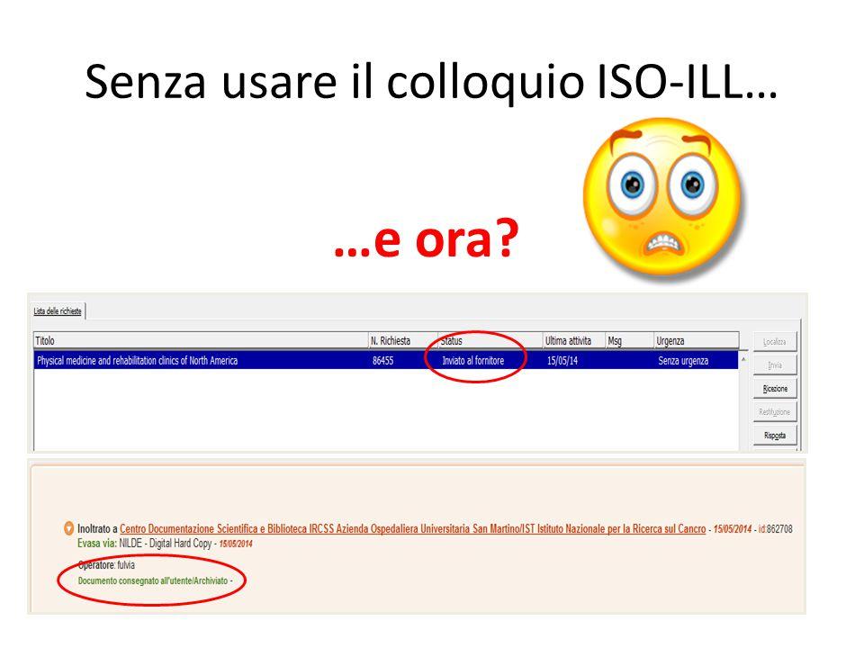 Senza usare il colloquio ISO-ILL… 4.Il bibliotecario avvia la richiesta attraverso il canale prescelto (Email, ILL SBN, Nilde, Gidif, SBBL, Essper…).