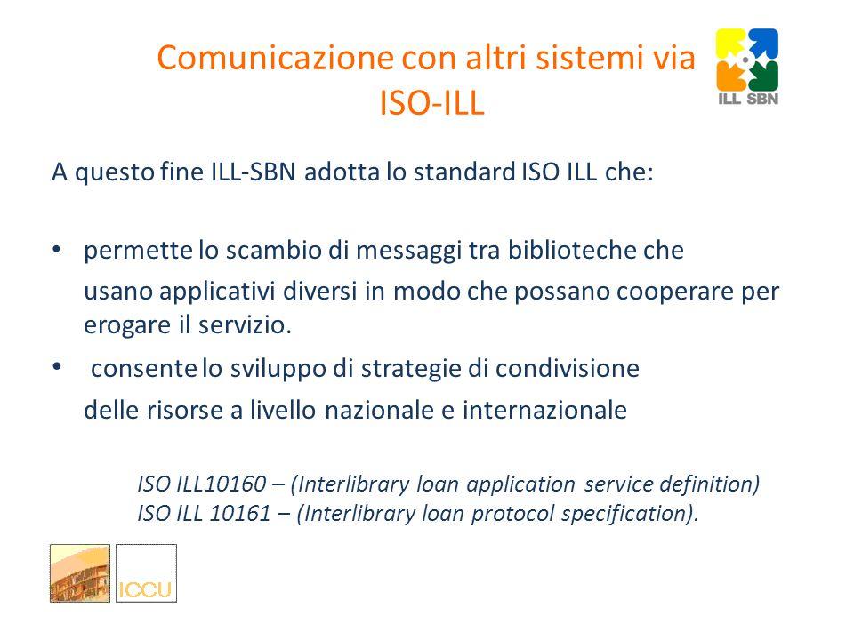 Comunicazione con altri sistemi via ISO-ILL gestire una richiesta di prestito interbibliotecario e fornitura documenti vuole dire anche gestire la com