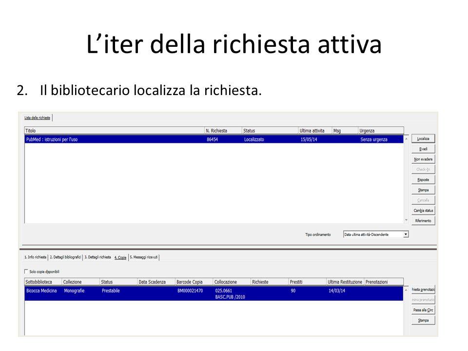 L'iter della richiesta attiva 1.Il bibliotecario ritrova in Aleph la richiesta inserita dalla biblioteca richiedente.