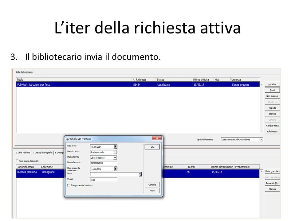 L'iter della richiesta attiva 2.Il bibliotecario localizza la richiesta.
