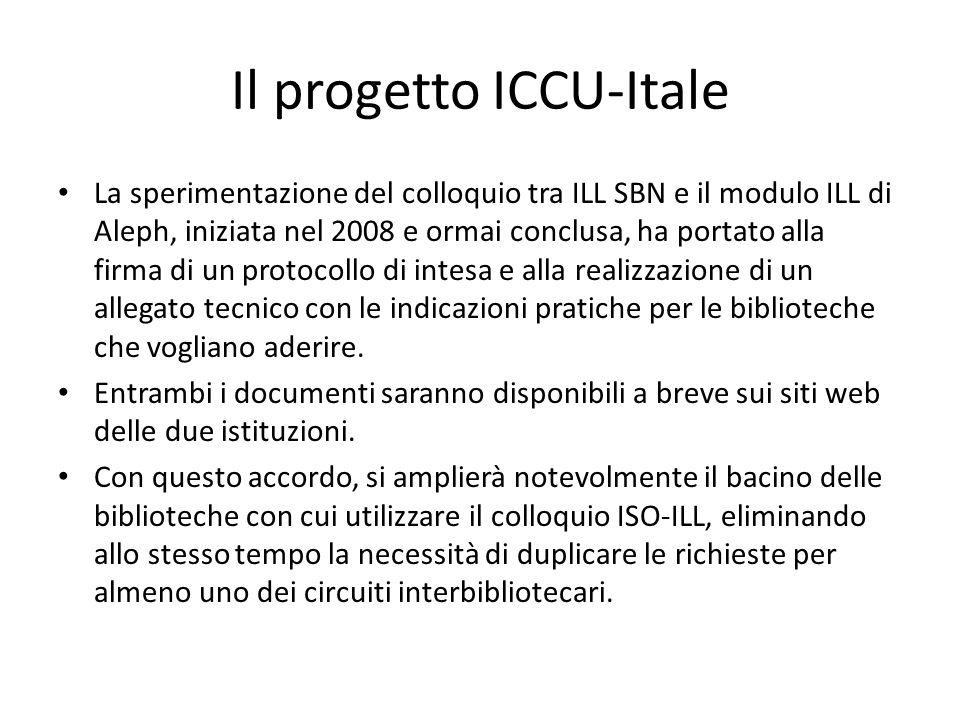 Il progetto ICCU-Itale Itale sta cercando di espandere l'utilizzo del colloquio ISO-ILL attraverso accordi di cooperazione con altre realtà. In partic