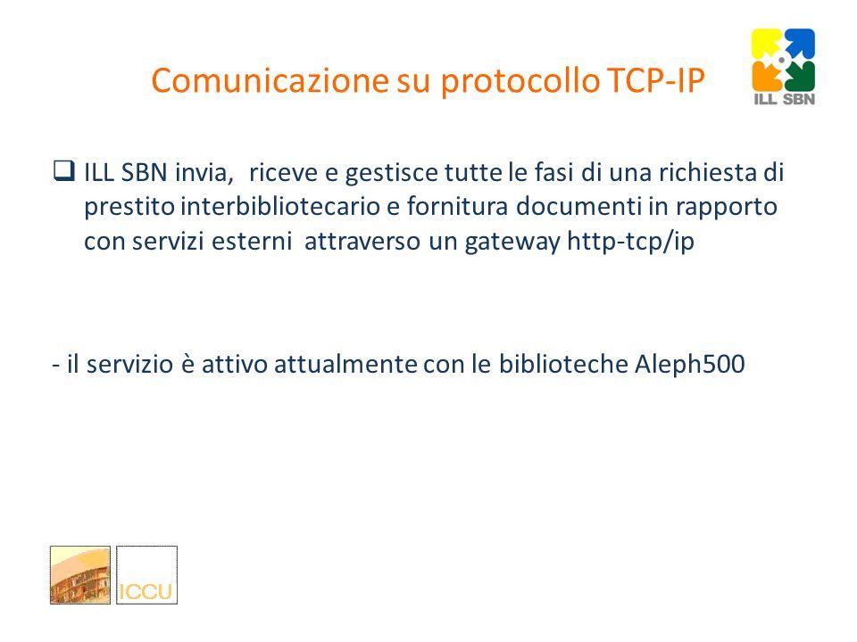 Comunicazione con altri sistemi via ISO-ILL ILL SBN gestisce le richieste direttamente nell'interfaccia web, ma è anche un sistema aperto in grado di