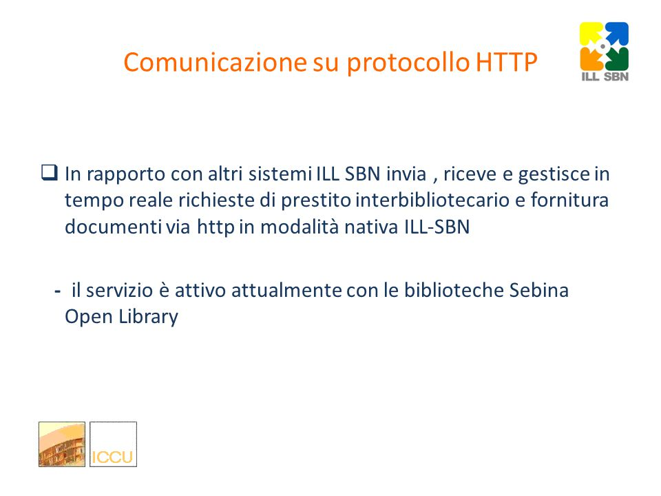 Interoperabilità tra servizi ILL: cosa si può fare Condivisione a livello nazionale per i dati anagrafici delle biblioteche ISIL : (International Standard Identifier for Libraries and Related Organizations)(International Standard Identifier for Libraries and Related Organizations Condivisione delle descrizioni dei servizi forniti dalle biblioteche Norma ISO 2146:2010: Registry services for libraries and related organizations