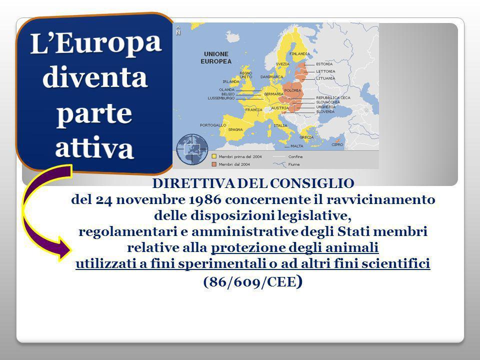 DIRETTIVA DEL CONSIGLIO del 24 novembre 1986 concernente il ravvicinamento delle disposizioni legislative, regolamentari e amministrative degli Stati membri relative alla protezione degli animali utilizzati a fini sperimentali o ad altri fini scientifici (86/609/CEE )