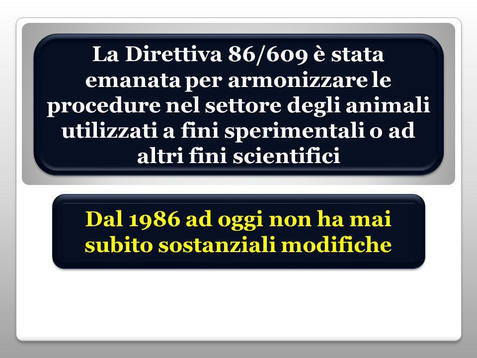La Direttiva 86/609 è stata emanata per armonizzare le procedure nel settore degli animali utilizzati a fini sperimentali o ad altri fini scientifici Dal 1986 ad oggi non ha mai subito sostanziali modifiche