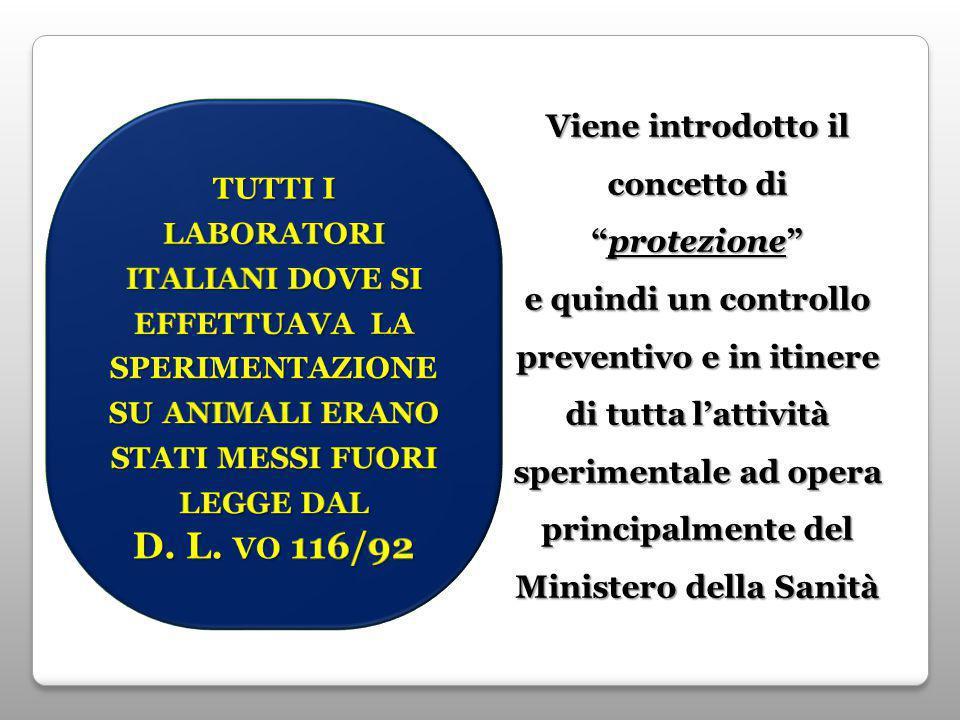 Viene introdotto il concetto di protezione e quindi un controllo preventivo e in itinere di tutta l'attività sperimentale ad opera principalmente del Ministero della Sanità