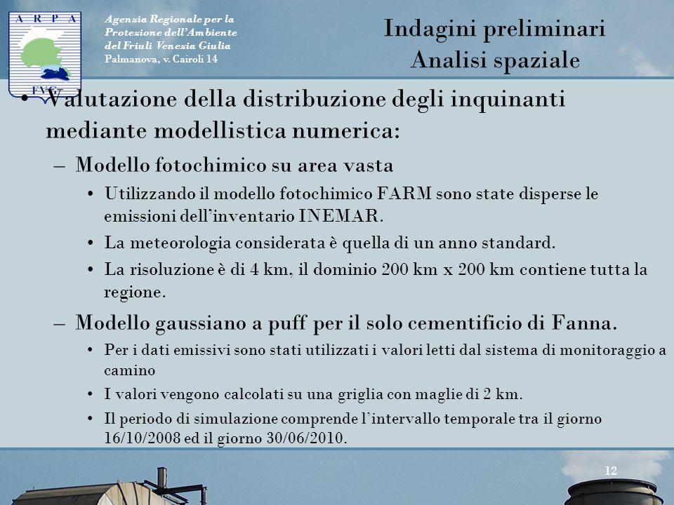 Agenzia Regionale per la Protezione dell'Ambiente del Friuli Venezia Giulia Palmanova, v. Cairoli 14 Valutazione della distribuzione degli inquinanti