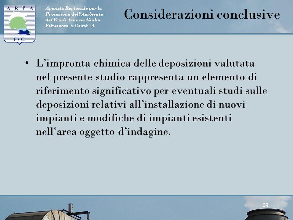 Agenzia Regionale per la Protezione dell'Ambiente del Friuli Venezia Giulia Palmanova, v. Cairoli 14 Considerazioni conclusive L'impronta chimica dell