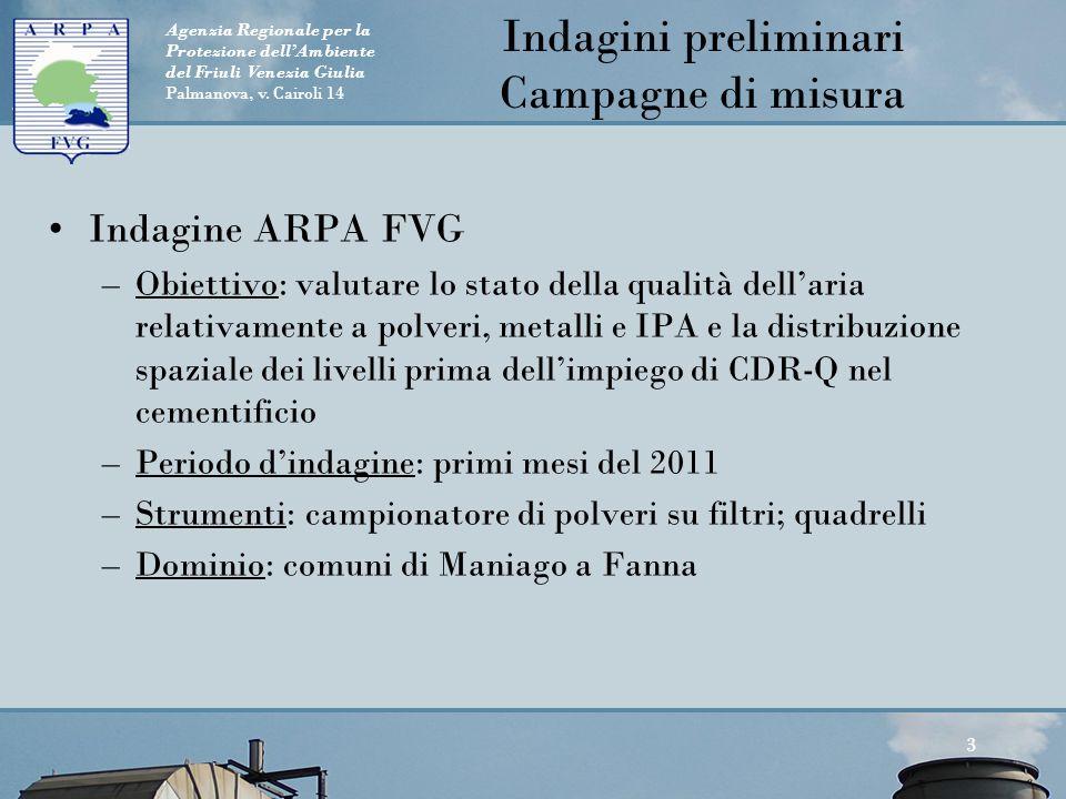 Agenzia Regionale per la Protezione dell'Ambiente del Friuli Venezia Giulia Palmanova, v. Cairoli 14 Indagini preliminari Campagne di misura Indagine