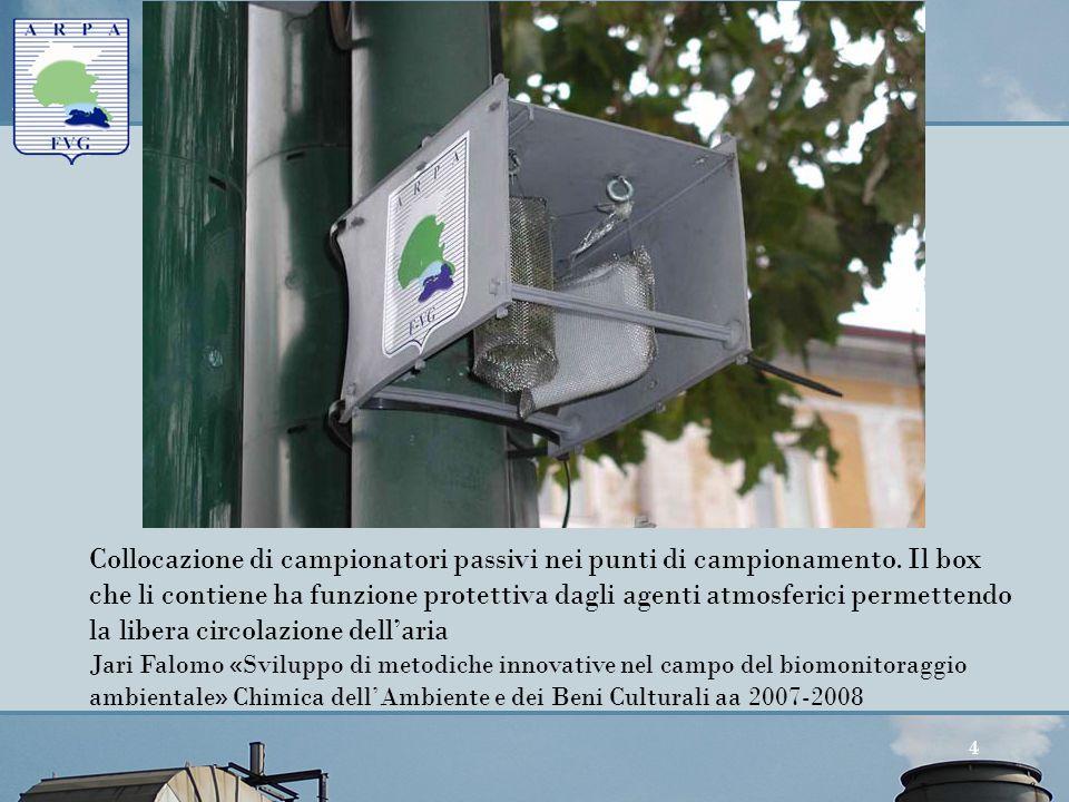 Agenzia Regionale per la Protezione dell'Ambiente del Friuli Venezia Giulia Palmanova, v. Cairoli 14 4 Collocazione di campionatori passivi nei punti