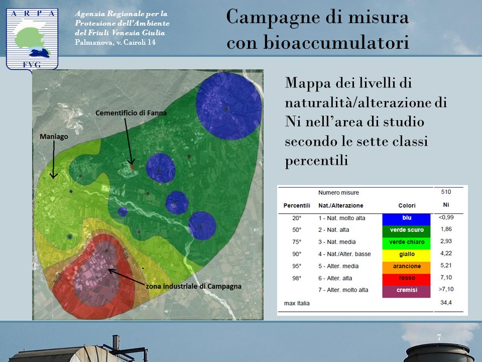 Agenzia Regionale per la Protezione dell'Ambiente del Friuli Venezia Giulia Palmanova, v. Cairoli 14 7 Mappa dei livelli di naturalità/alterazione di