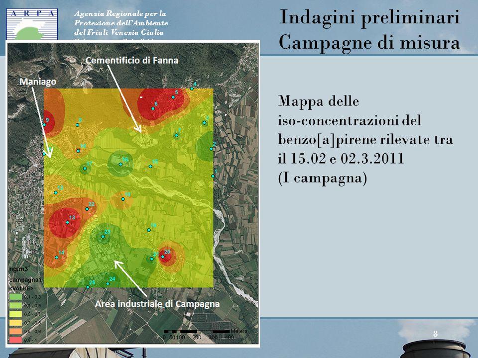 Agenzia Regionale per la Protezione dell'Ambiente del Friuli Venezia Giulia Palmanova, v. Cairoli 14 8 Mappa delle iso-concentrazioni del benzo[a]pire