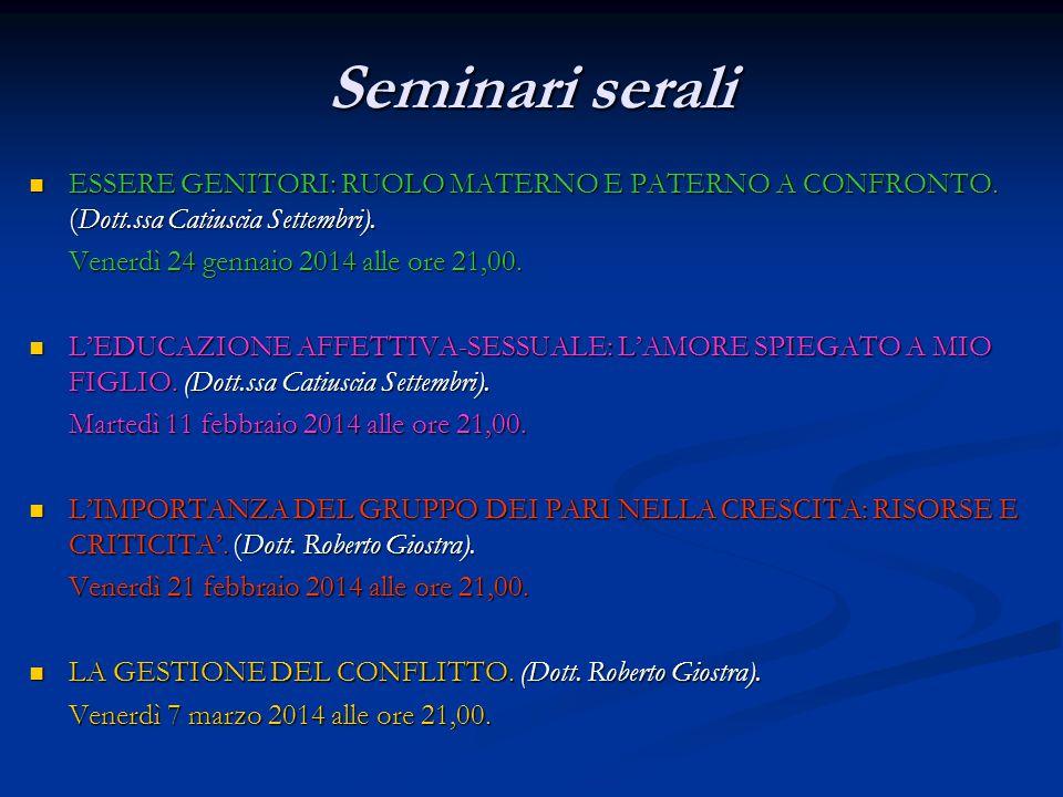 Seminari serali ESSERE GENITORI: RUOLO MATERNO E PATERNO A CONFRONTO. (Dott.ssa Catiuscia Settembri). ESSERE GENITORI: RUOLO MATERNO E PATERNO A CONFR