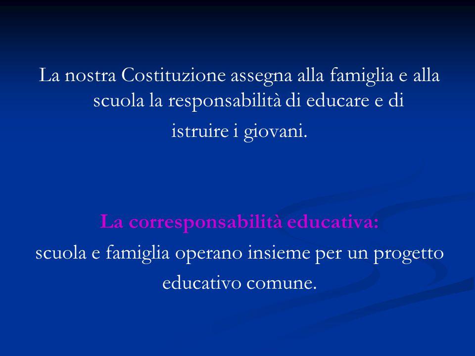 La nostra Costituzione assegna alla famiglia e alla scuola la responsabilità di educare e di istruire i giovani. La corresponsabilità educativa: scuol