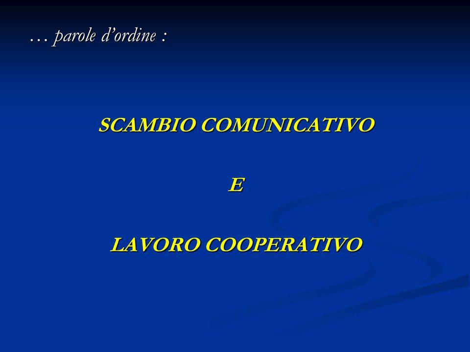 … parole d'ordine : SCAMBIO COMUNICATIVO E LAVORO COOPERATIVO