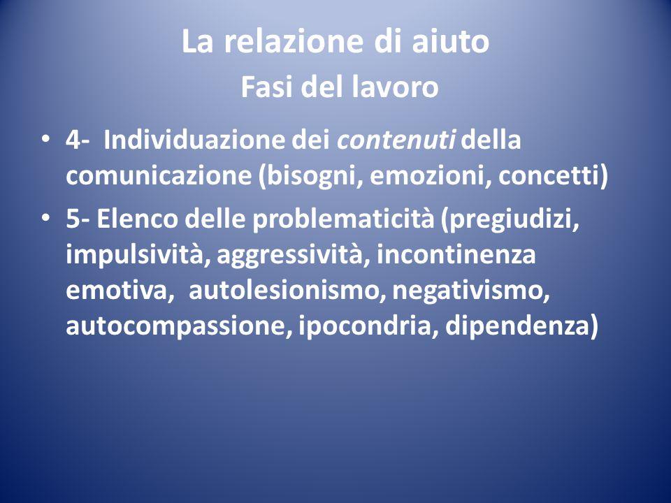 La relazione di aiuto Fasi del lavoro 4- Individuazione dei contenuti della comunicazione (bisogni, emozioni, concetti) 5- Elenco delle problematicità
