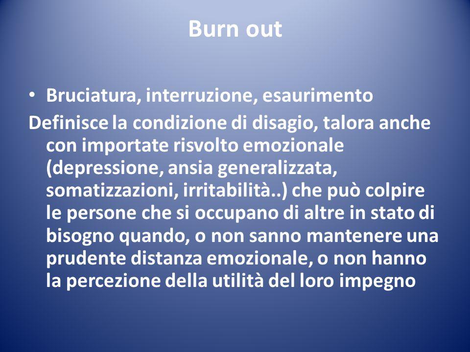 Burn out Bruciatura, interruzione, esaurimento Definisce la condizione di disagio, talora anche con importate risvolto emozionale (depressione, ansia
