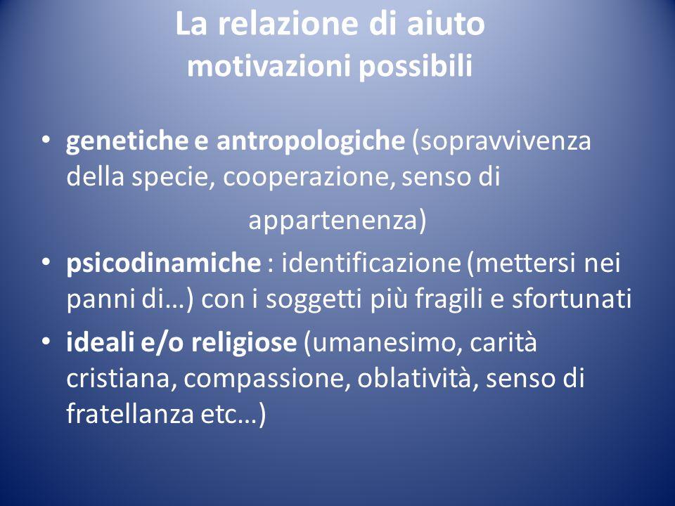 La relazione di aiuto motivazioni possibili genetiche e antropologiche (sopravvivenza della specie, cooperazione, senso di appartenenza) psicodinamich