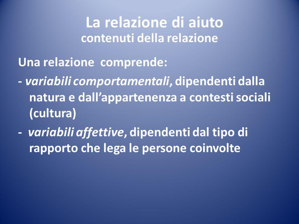 contenuti della relazione Una relazione comprende: - variabili comportamentali, dipendenti dalla natura e dall'appartenenza a contesti sociali (cultur