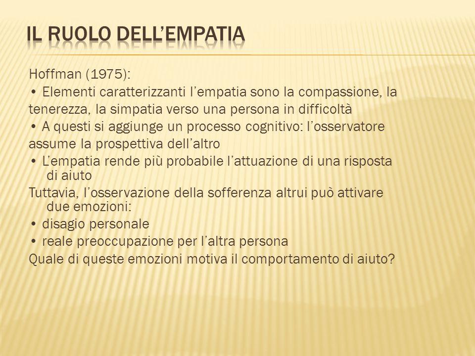 Hoffman (1975): Elementi caratterizzanti l'empatia sono la compassione, la tenerezza, la simpatia verso una persona in difficoltà A questi si aggiunge un processo cognitivo: l'osservatore assume la prospettiva dell'altro L'empatia rende più probabile l'attuazione di una risposta di aiuto Tuttavia, l'osservazione della sofferenza altrui può attivare due emozioni: disagio personale reale preoccupazione per l'altra persona Quale di queste emozioni motiva il comportamento di aiuto?