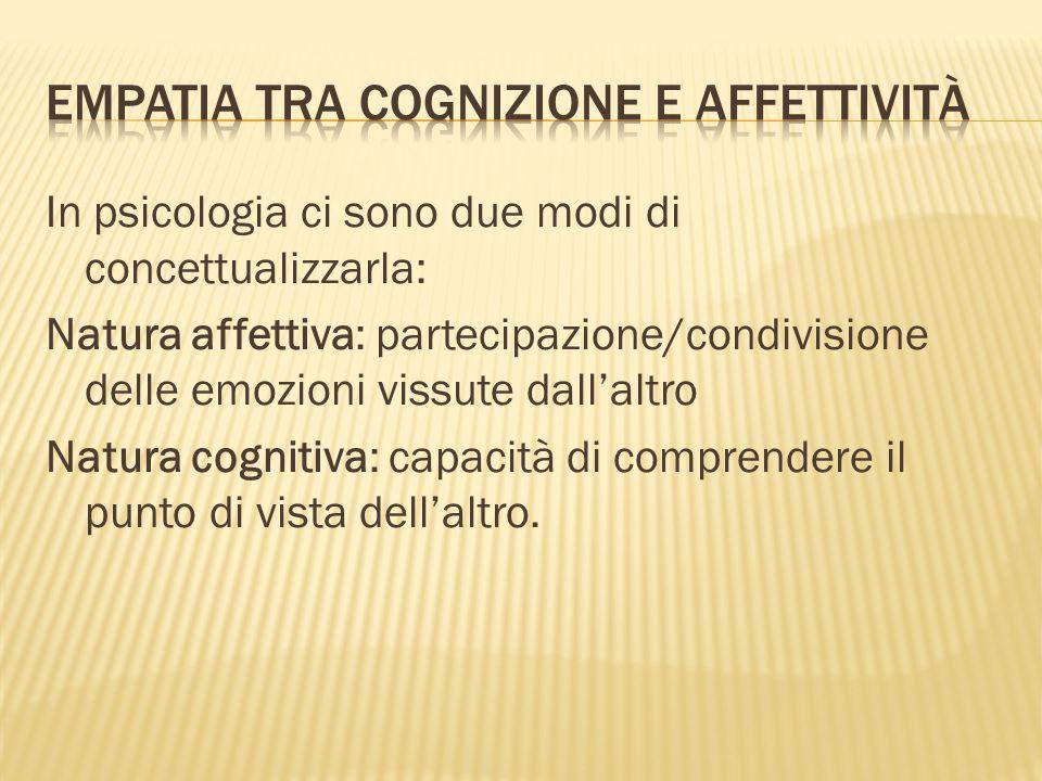 In psicologia ci sono due modi di concettualizzarla: Natura affettiva: partecipazione/condivisione delle emozioni vissute dall'altro Natura cognitiva: