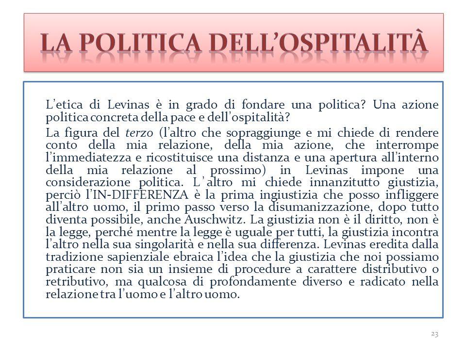 L'etica di Levinas è in grado di fondare una politica? Una azione politica concreta della pace e dell'ospitalità? La figura del terzo (l'altro che sop