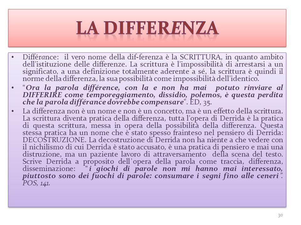 Différance: il vero nome della dif-ferenza è la SCRITTURA, in quanto ambito dell'istituzione delle differenze. La scrittura è l'impossibilità di arres