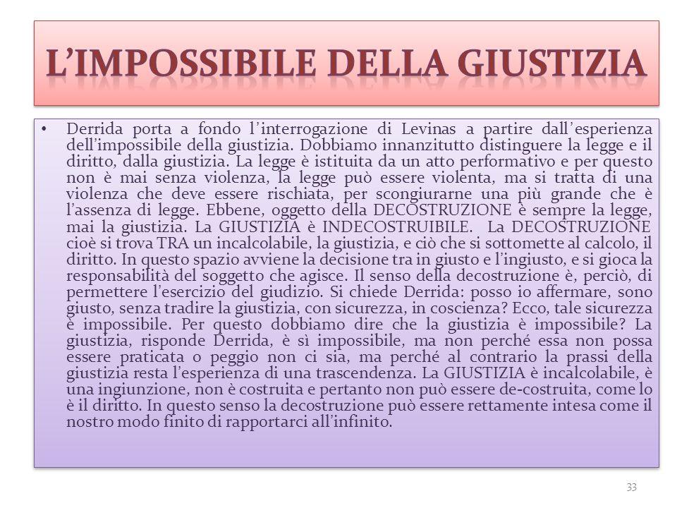 Derrida porta a fondo l'interrogazione di Levinas a partire dall'esperienza dell'impossibile della giustizia. Dobbiamo innanzitutto distinguere la leg