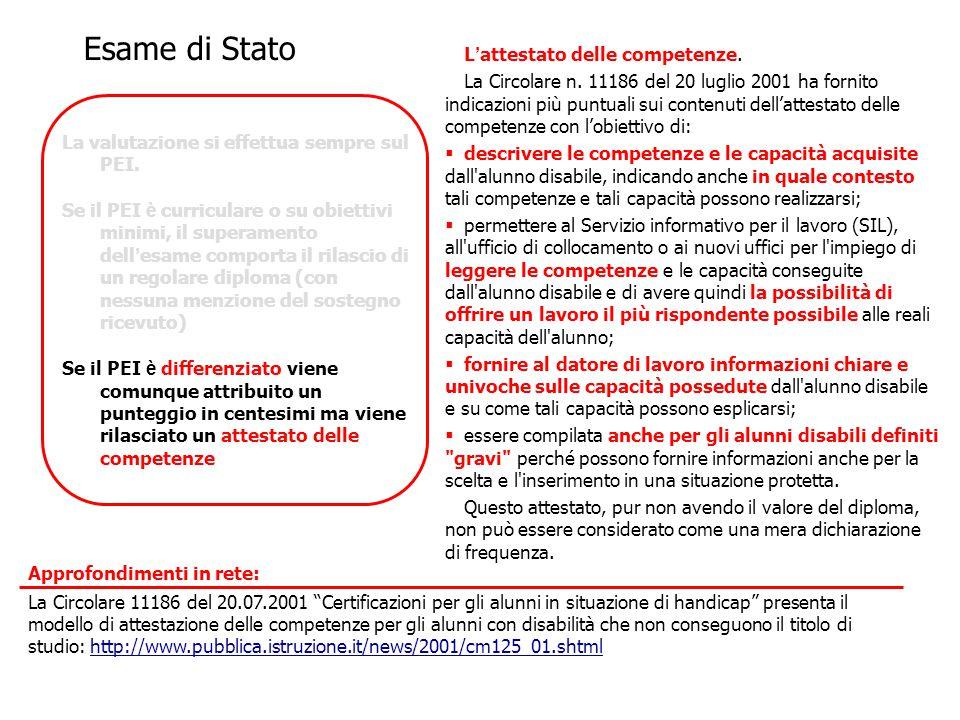 L ' attestato delle competenze. La Circolare n. 11186 del 20 luglio 2001 ha fornito indicazioni più puntuali sui contenuti dell'attestato delle compet