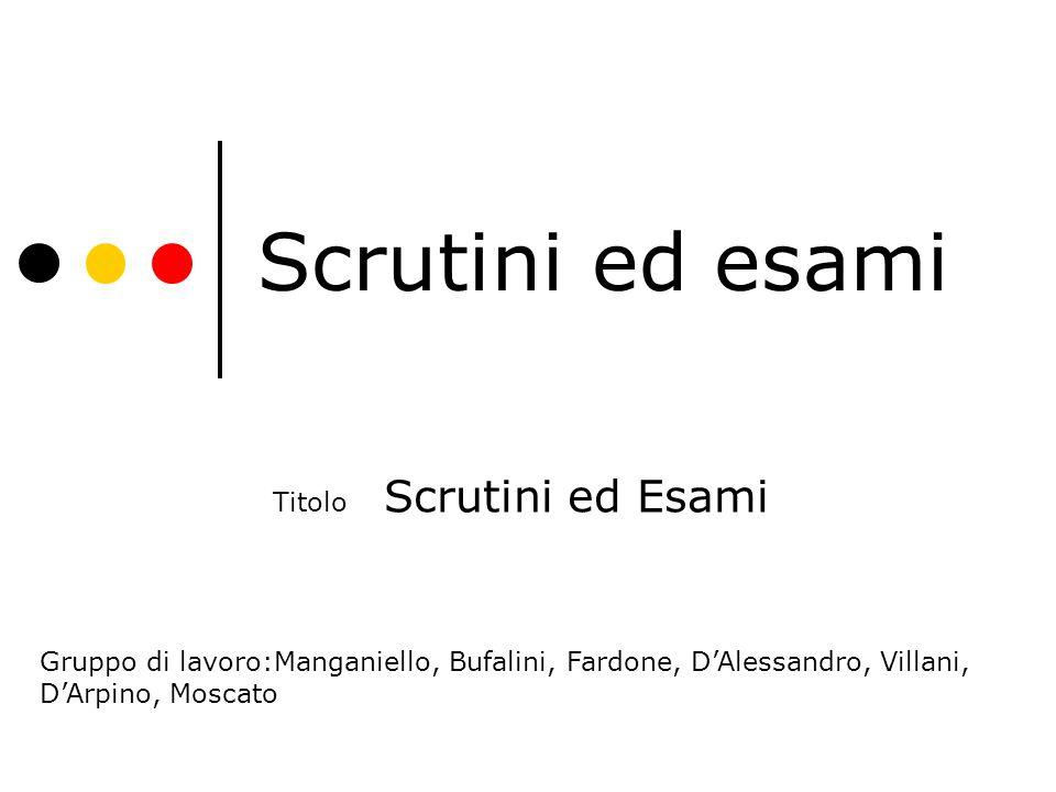 Scrutini ed esami Titolo Scrutini ed Esami Gruppo di lavoro:Manganiello, Bufalini, Fardone, D'Alessandro, Villani, D'Arpino, Moscato