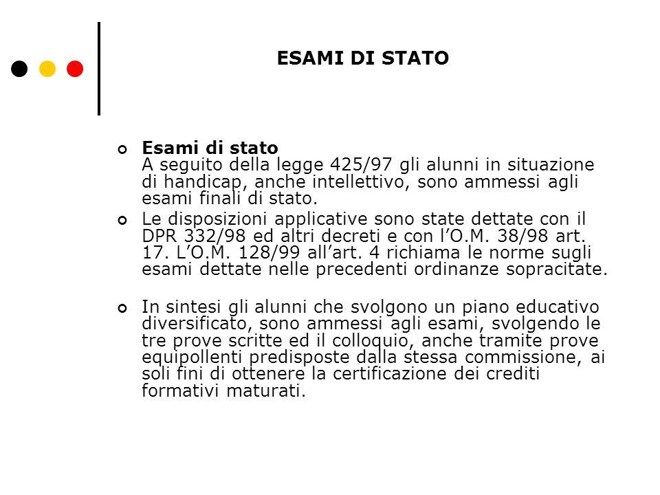ESAMI DI STATO Esami di stato A seguito della legge 425/97 gli alunni in situazione di handicap, anche intellettivo, sono ammessi agli esami finali di stato.