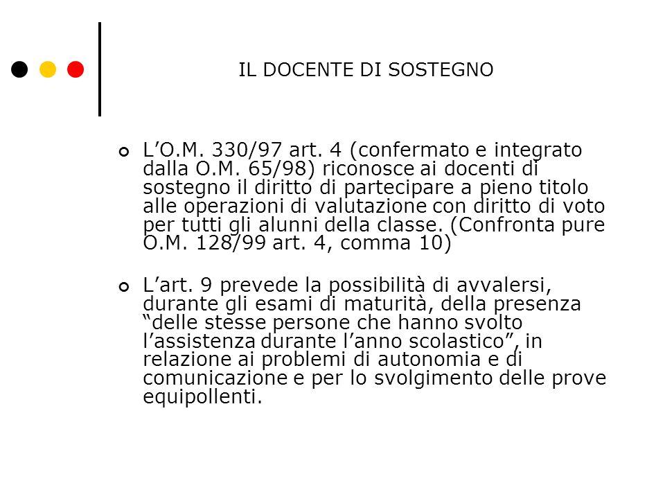 IL DOCENTE DI SOSTEGNO L'O.M. 330/97 art. 4 (confermato e integrato dalla O.M. 65/98) riconosce ai docenti di sostegno il diritto di partecipare a pie