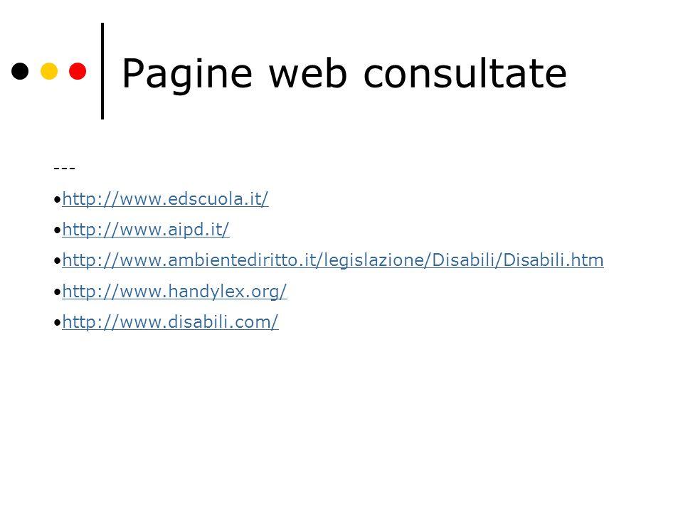Pagine web consultate --- http://www.edscuola.it/ http://www.aipd.it/ http://www.ambientediritto.it/legislazione/Disabili/Disabili.htm http://www.handylex.org/ http://www.disabili.com/