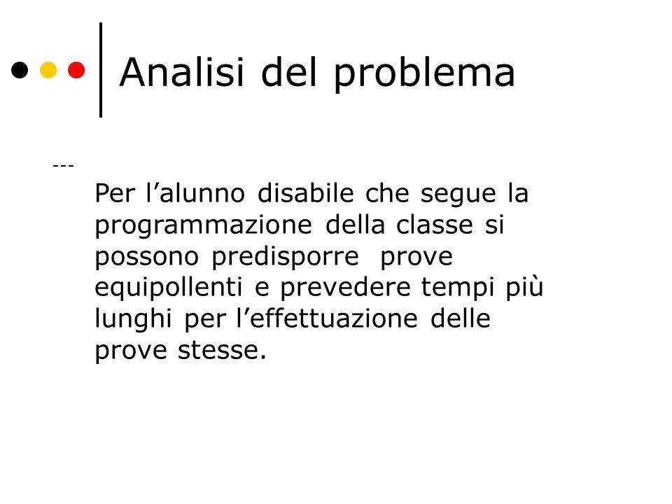Analisi del problema --- Per l'alunno disabile che segue la programmazione della classe si possono predisporre prove equipollenti e prevedere tempi pi