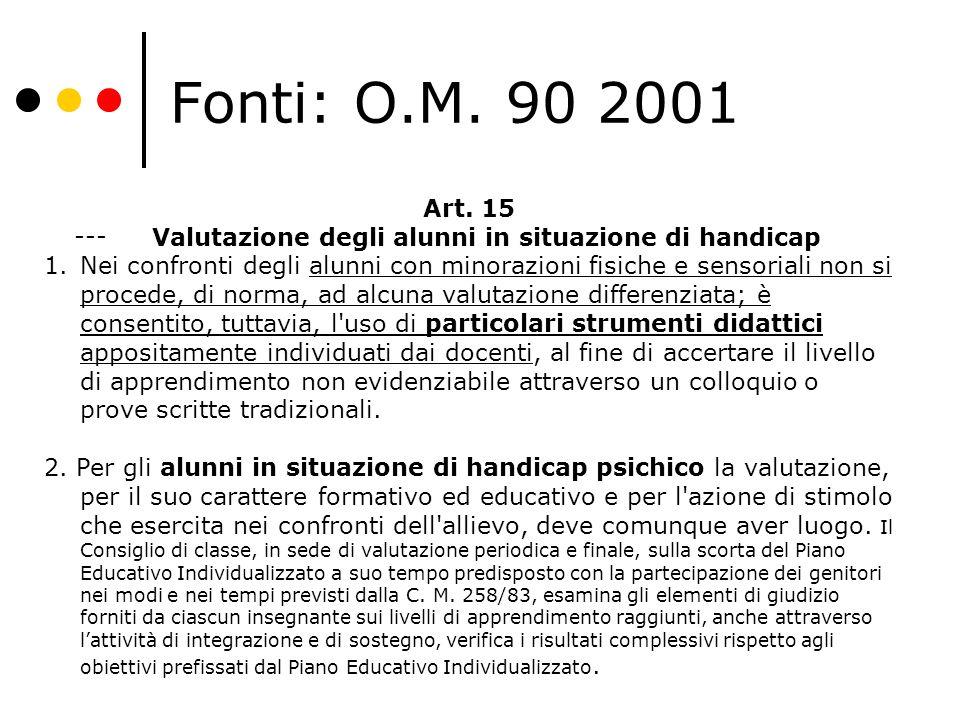 Fonti: O.M. 90 2001 --- Art. 15 Valutazione degli alunni in situazione di handicap 1.Nei confronti degli alunni con minorazioni fisiche e sensoriali n