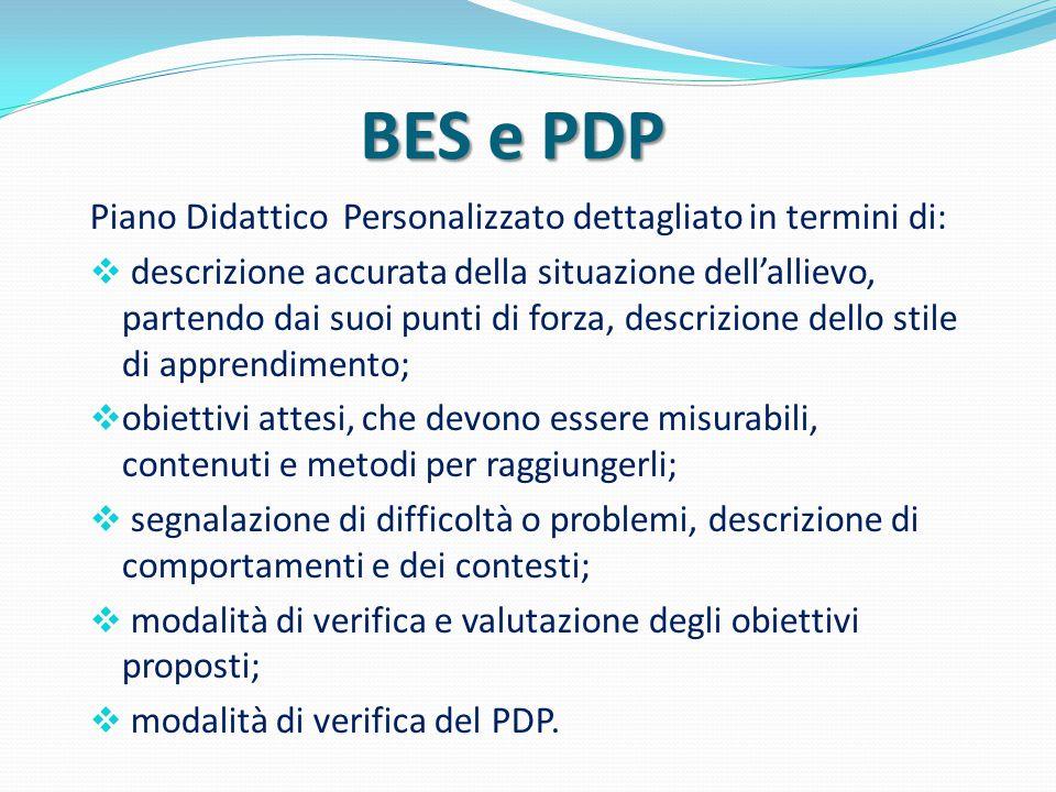BES e PDP Piano Didattico Personalizzato dettagliato in termini di:  descrizione accurata della situazione dell'allievo, partendo dai suoi punti di f