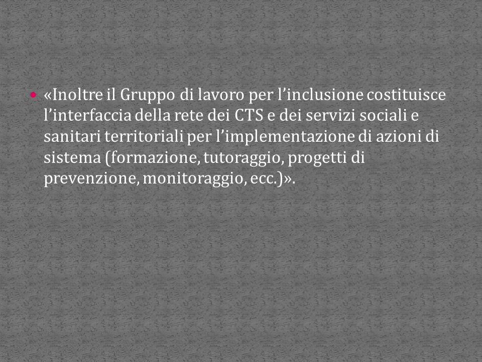 «Inoltre il Gruppo di lavoro per l'inclusione costituisce l'interfaccia della rete dei CTS e dei servizi sociali e sanitari territoriali per l'impleme