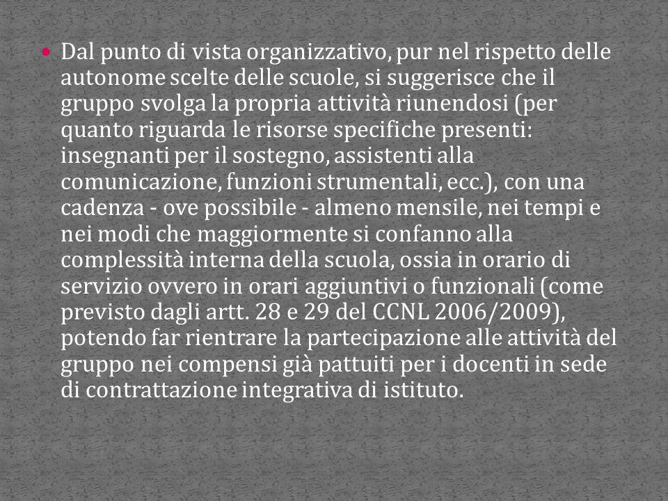 Dal punto di vista organizzativo, pur nel rispetto delle autonome scelte delle scuole, si suggerisce che il gruppo svolga la propria attività riunendo
